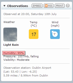 Screenshot of observations humidity 95%